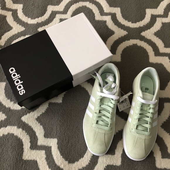 best service 0b0ae d970c Womens Adidas Courtset Sneakers in Mint Green